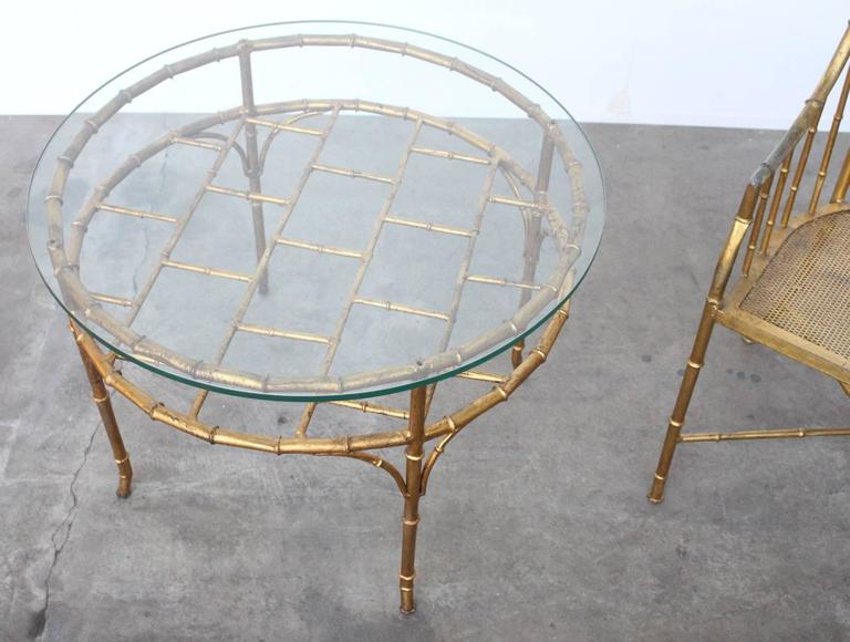 Late 20th Century Faux Bamboo Set of Side Chair and Table in the Style of Adnet and Jean Royere For Sale