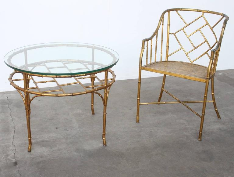Faux Bamboo Set of Side Chair and Table in the Style of Adnet and Jean Royere For Sale 1