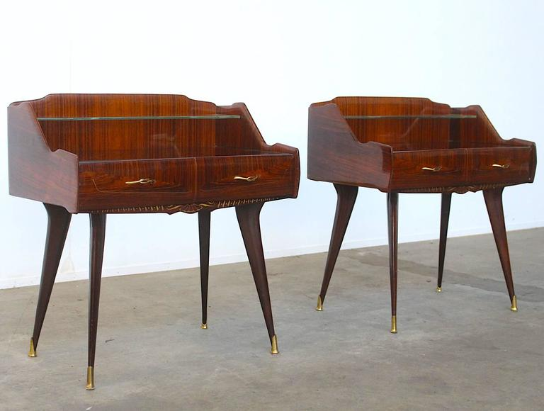 Paolo Buffa Style Pair of Stunning Italian Nightstands For Sale 1