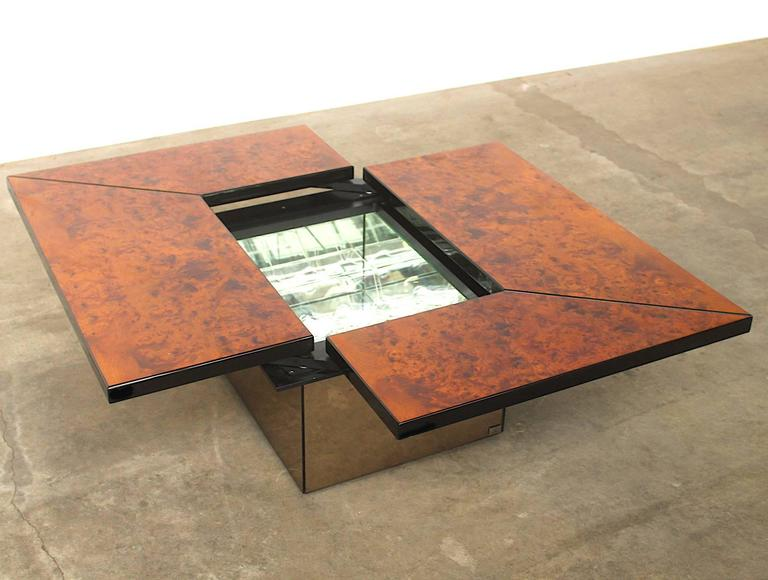 Paul Michel Burl Wood Multi Functional Coffee Table And Dry Bar For Sale At 1stdibs