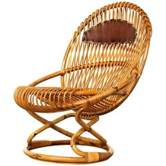Giovanni Travasa for Bonacina Wicker Easy Chair, circa 1950