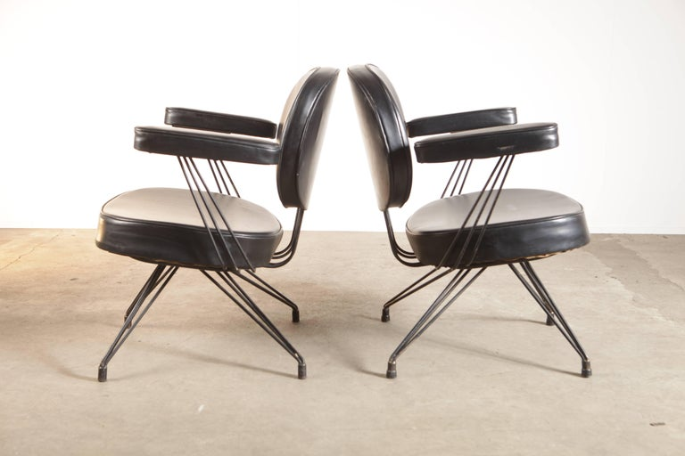 Mid-Century Modern Rare Pair of Pierre Paulin Arm Chairs for Thonet For Sale