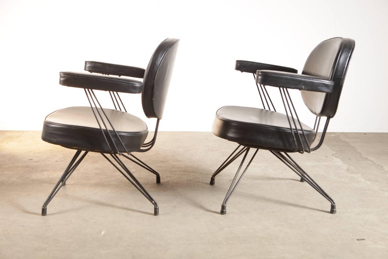 French Rare Pair of Pierre Paulin Arm Chairs for Thonet For Sale