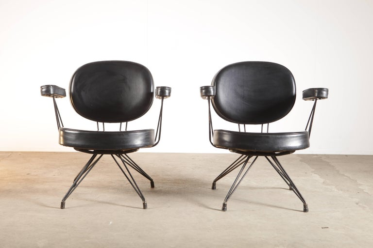 Wonderful set of 2 extremely rare arm chairs by Pierre Paulin. These chairs were especially made for the American Embassy in Brussels, Belgium.