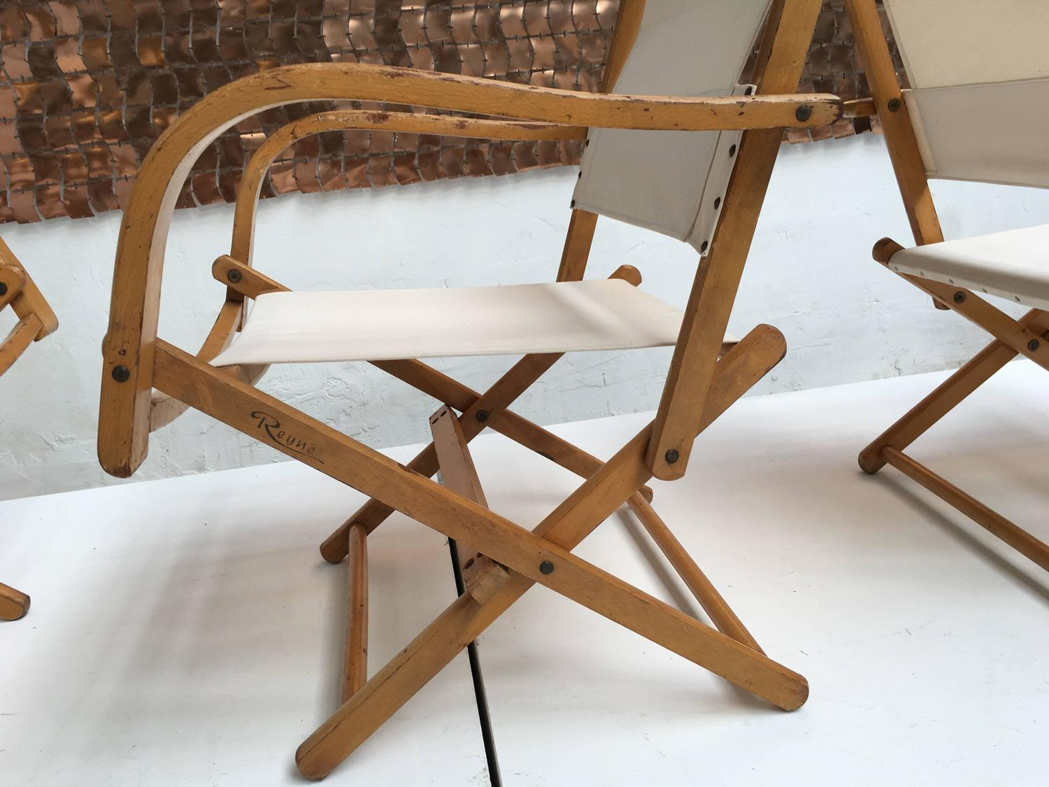 Four Birch And Canvas Foldable Garden Chairs By Reyne The