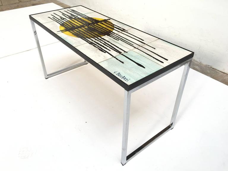 1960s Mid-Century Modern Abstract Juliette Belarti Ceramic Tile Side Table 3