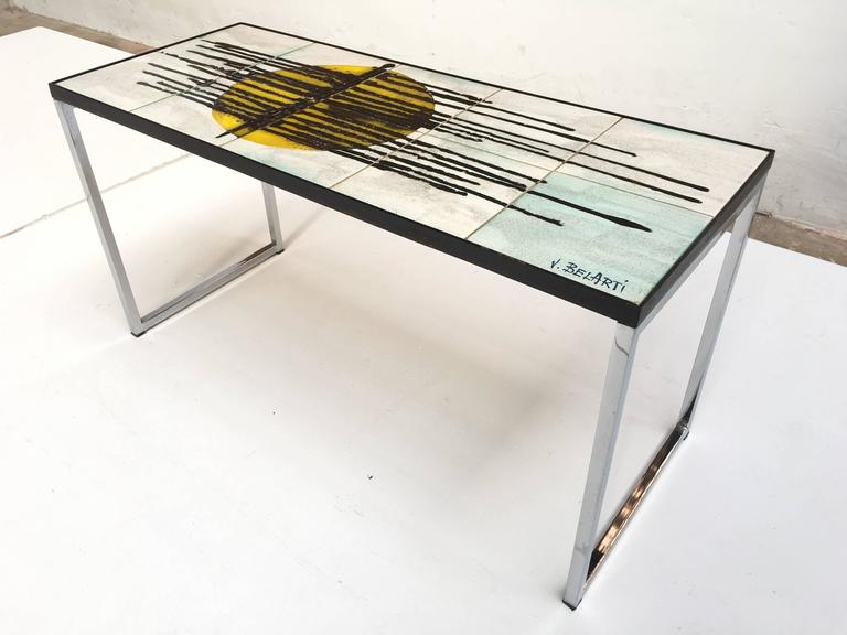 1960s Mid-Century Modern Abstract Juliette Belarti Ceramic Tile Side Table 9