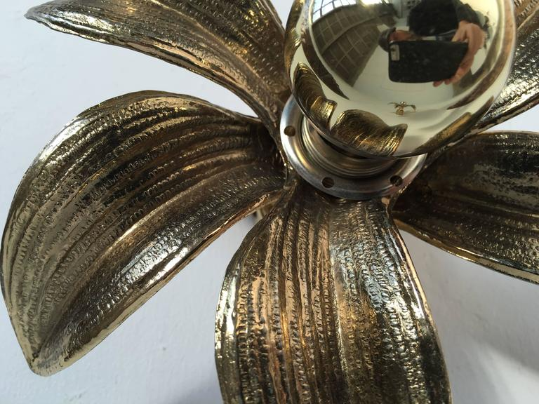 Late 20th Century Pair of 1970s Brass Flower Appliques Maison Jansen Style For Sale