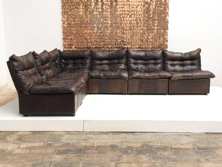 Gypset 1970s Chocolate Brown Distressed Leather Sectional
