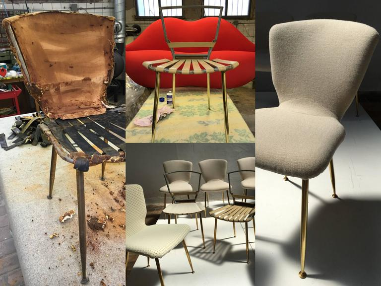 12 dining chairs by Louis Sognot for ARFLEX,1959. Brass legs,Upholstery restored 6