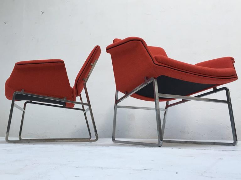 Plated Restored 'Double Shell' Lounge Chairs by Illum Wikkelsø for Arflex, Italy, 1960 For Sale