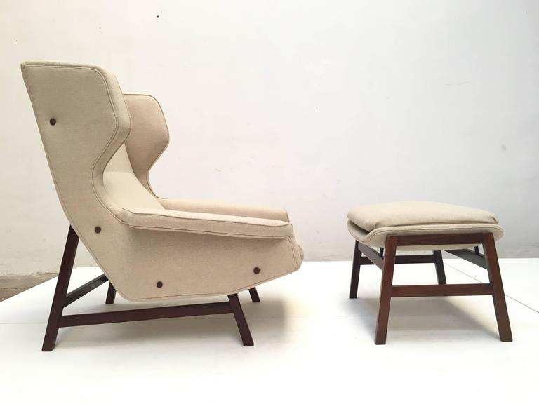 Mid-Century Modern Ultra Rare Rosewood Gianfranco Frattini 877 Lounge Chair & Ottoman,Cassina,1959 For Sale