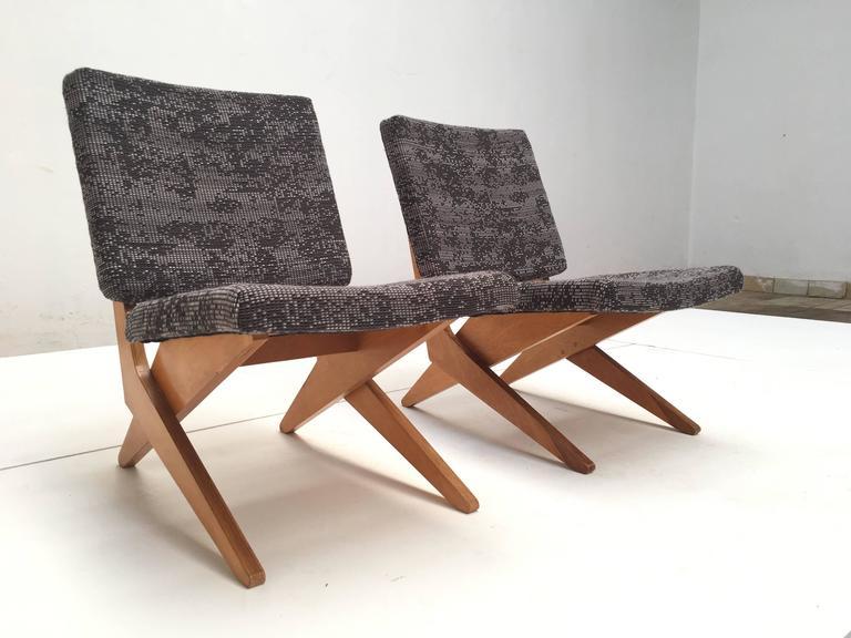 Stunning Pair of FB18 Scissor Chairs by Jan Van Grunsven for UMS Pastoe, 1955 In Good Condition For Sale In bergen op zoom, NL