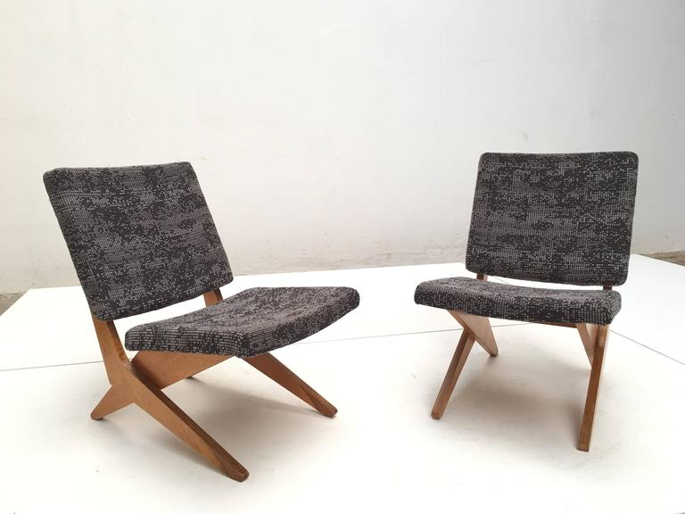Dutch Stunning Pair of FB18 Scissor Chairs by Jan Van Grunsven for UMS Pastoe, 1955 For Sale