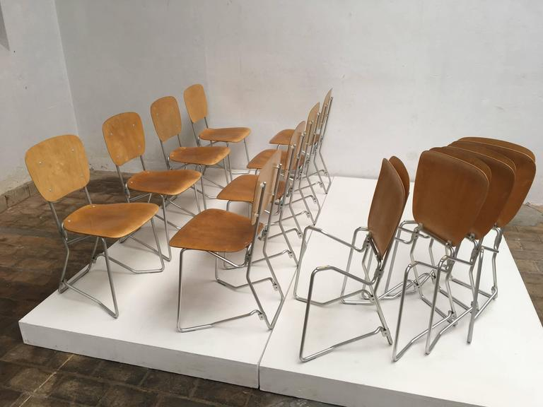 Mid-20th Century 12 Birch and Aluminium Chairs by Armin Wirth for Aluflex, Switzerland, 1951 For Sale