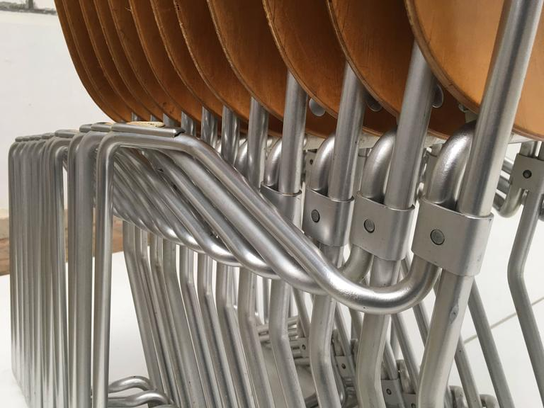 Aluminum 12 Birch and Aluminium Chairs by Armin Wirth for Aluflex, Switzerland, 1951 For Sale