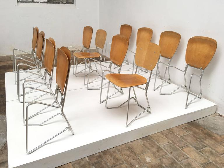 12 Birch and Aluminium Chairs by Armin Wirth for Aluflex, Switzerland, 1951 For Sale 2