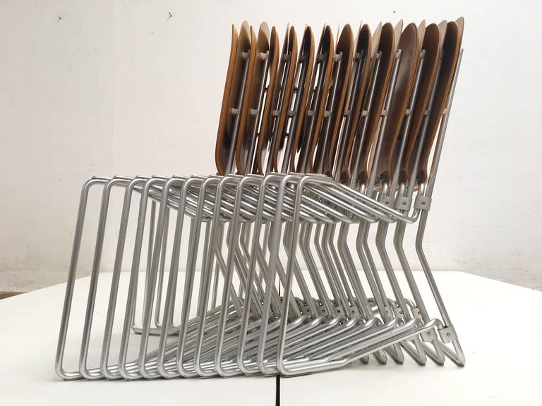 12 Birch and Aluminium Chairs by Armin Wirth for Aluflex, Switzerland, 1951 In Good Condition For Sale In bergen op zoom, NL