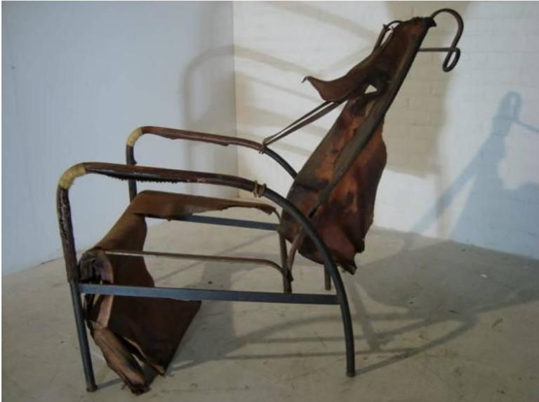 Jacques Adnet Lounge Chair Restored with Photos of Restoration Process, 1950 For Sale 2
