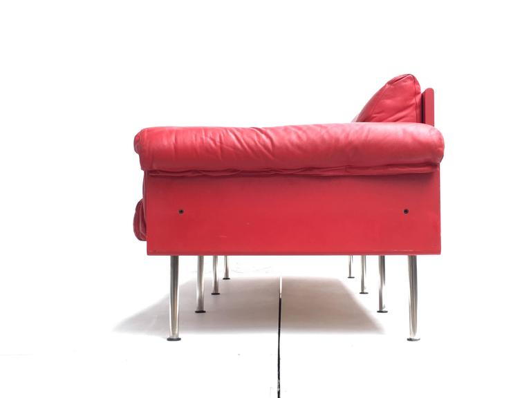 Eclectic Red Leather 'Ateljee' Sofa by Yrjo Kukkapuro for Haimi Finland, 1963 2