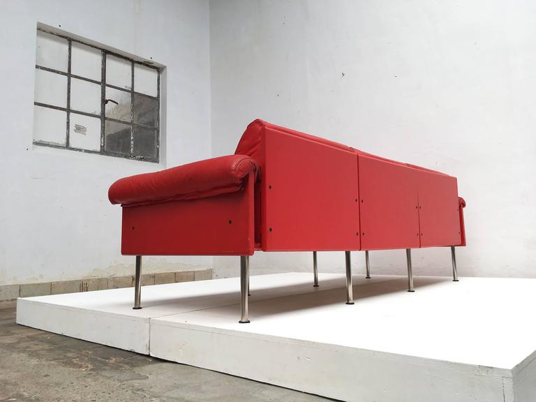 Eclectic Red Leather 'Ateljee' Sofa by Yrjo Kukkapuro for Haimi Finland, 1963 5