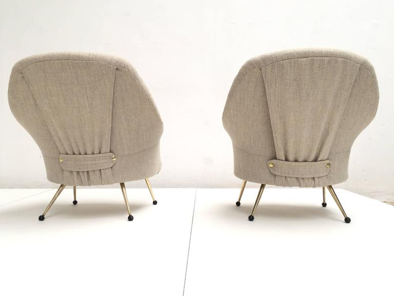 Enameled Zanuso 'Martingala' Lounge Chairs,Arflex, 1954 Upholstery Fully Restored, Signed For Sale