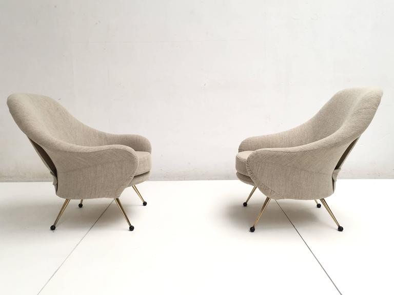 Mid-Century Modern Zanuso 'Martingala' Lounge Chairs,Arflex, 1954 Upholstery Fully Restored, Signed For Sale
