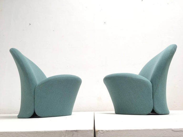 Rare Pair of Pierre Paulin F572 Chair for Artifort 1967 Aqua Marine Ploeg Wool 6