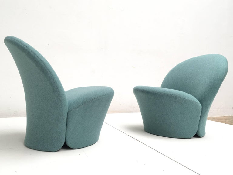 Rare Pair of Pierre Paulin F572 Chair for Artifort 1967 Aqua Marine Ploeg Wool 8
