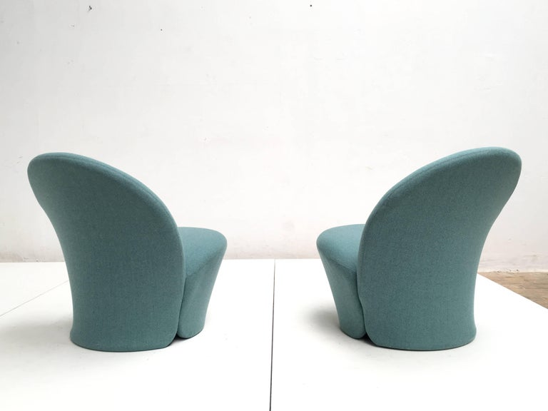 Rare Pair of Pierre Paulin F572 Chair for Artifort 1967 Aqua Marine Ploeg Wool 9
