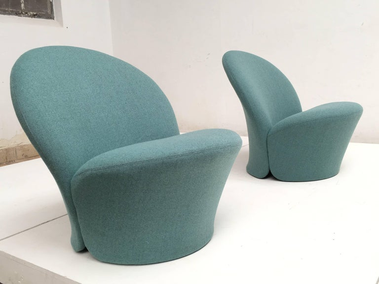 Rare Pair of Pierre Paulin F572 Chair for Artifort 1967 Aqua Marine Ploeg Wool 2