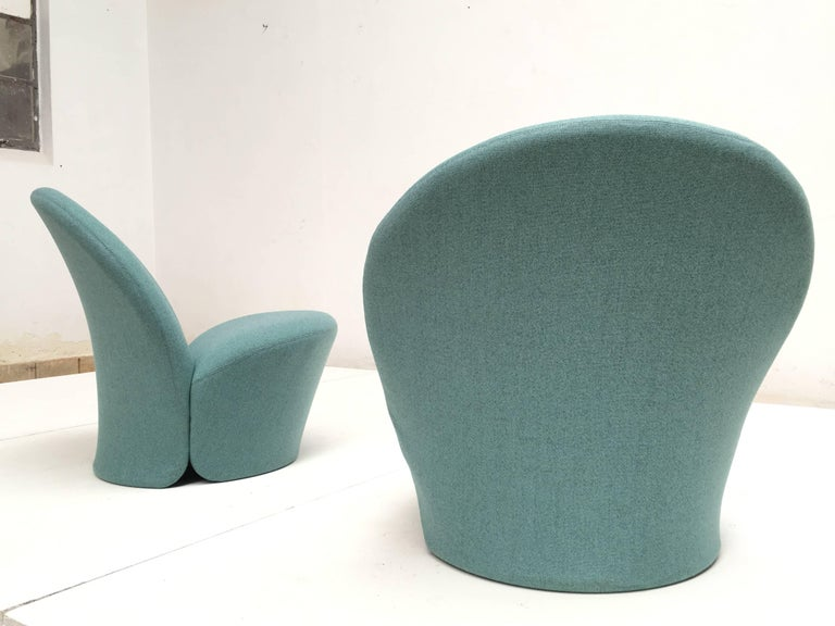 Rare Pair of Pierre Paulin F572 Chair for Artifort 1967 Aqua Marine Ploeg Wool 3