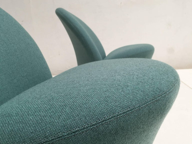 Rare Pair of Pierre Paulin F572 Chair for Artifort 1967 Aqua Marine Ploeg Wool 5