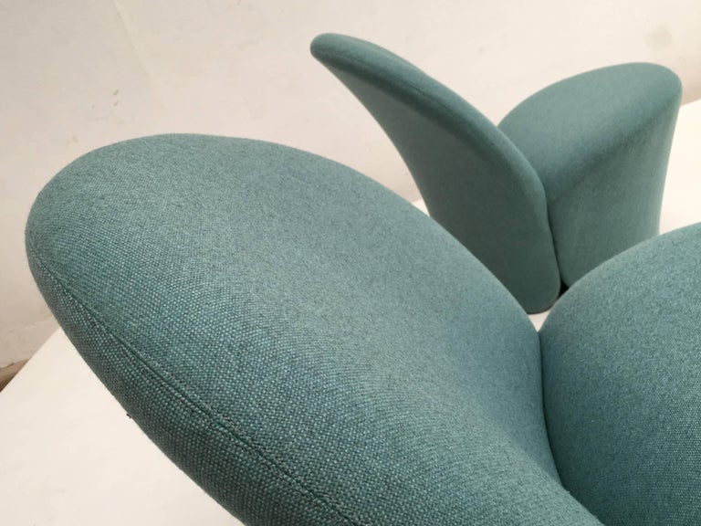 Rare Pair of Pierre Paulin F572 Chair for Artifort 1967 Aqua Marine Ploeg Wool 7