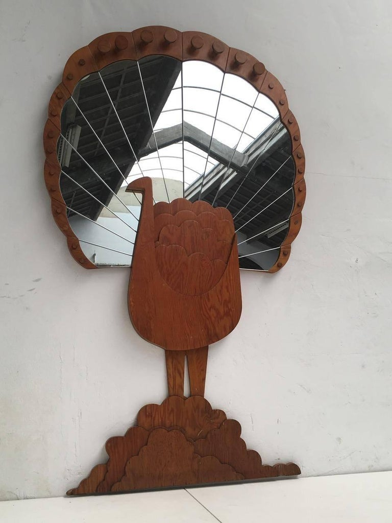 "Mid-Century Modern 'Pavone' Mirror by Artist Sirio Alessandri, 73"" Tall, Published Casa Vogue, 1976 For Sale"