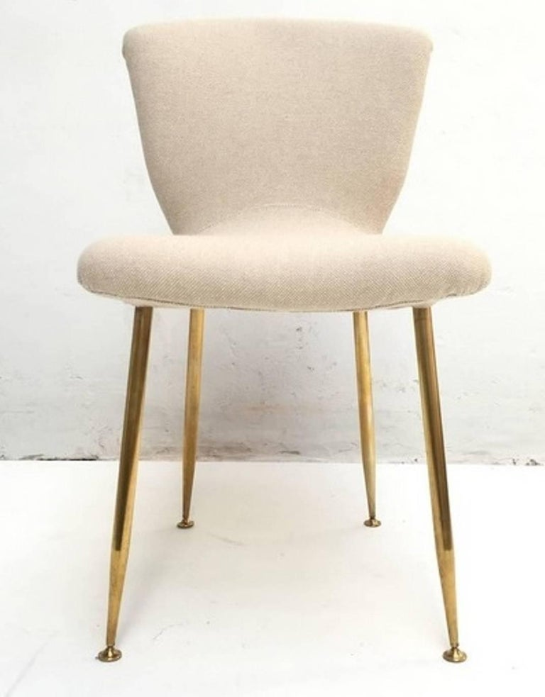 Dining Chair by Louis Sognot for Arflex, 1959, Brass Legs, Upholstery Restored For Sale