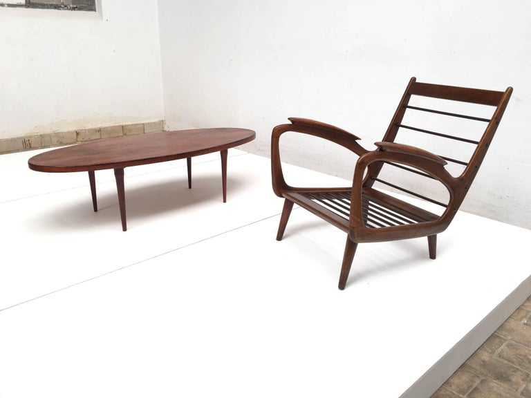 Stunning Dutch De Ster 1950s Organic Carved Walnut Stained Birch Lounge Chair For Sale 4