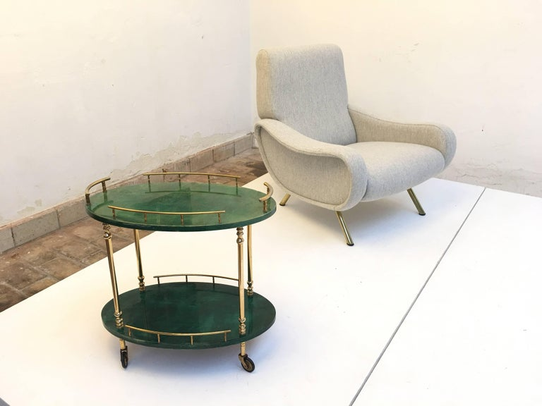 Diminutive Aldo Tura Goatskin Drink Cart or Side Table, Milano Italy, 1960s 2