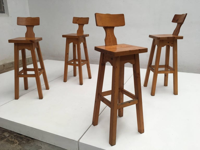 Set of Four Scandinavian Solid Pine Wood Barstools, Style of Rainer Daumiller 6