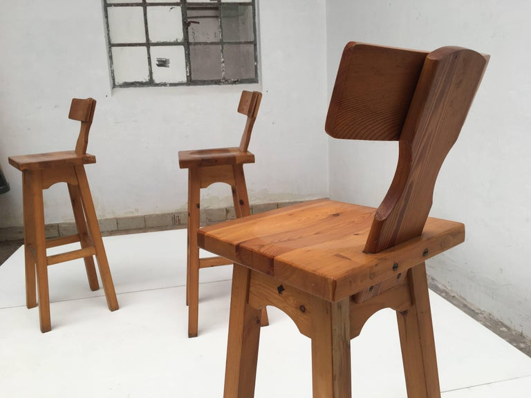 Set of Four Scandinavian Solid Pine Wood Barstools, Style of Rainer Daumiller 4