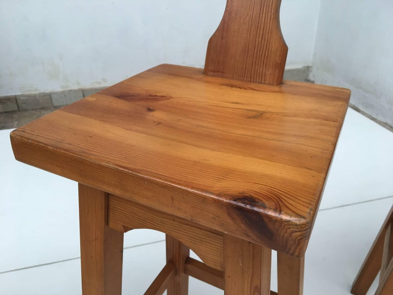 Set of Four Scandinavian Solid Pine Wood Barstools, Style of Rainer Daumiller 10