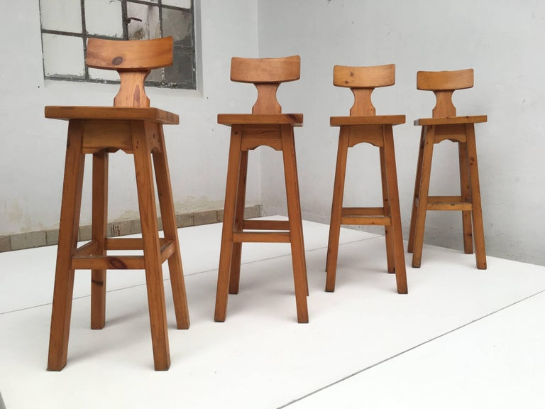 Set of Four Scandinavian Solid Pine Wood Barstools, Style of Rainer Daumiller 3