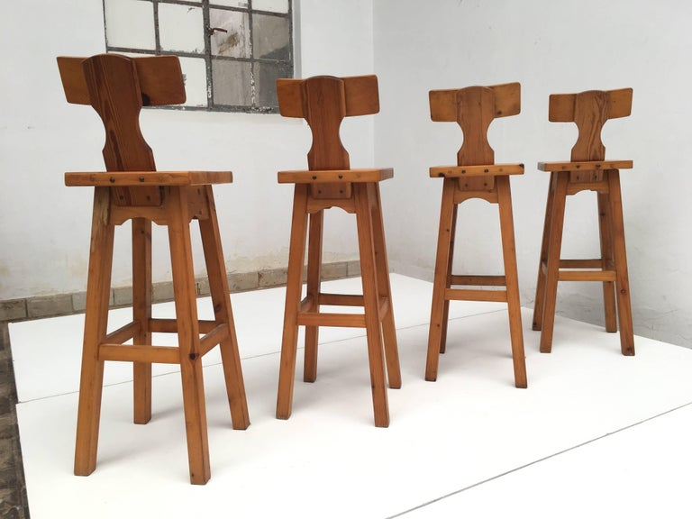 Set of Four Scandinavian Solid Pine Wood Barstools, Style of Rainer Daumiller 5