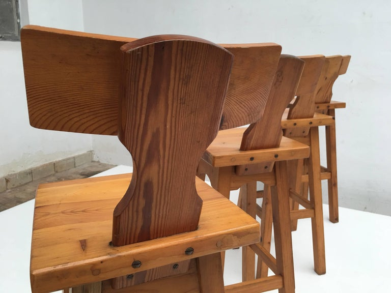Set of Four Scandinavian Solid Pine Wood Barstools, Style of Rainer Daumiller 2