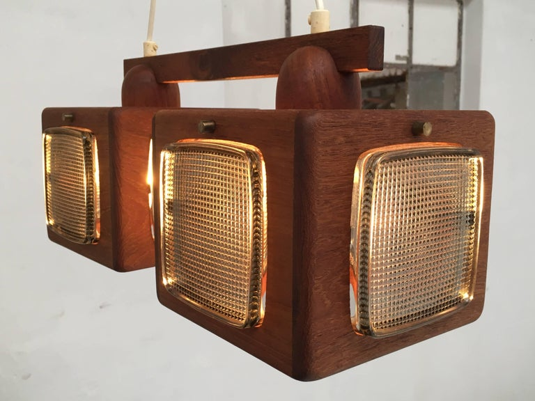 Cubic Vitrika Pendant Teak, Brass and Orrefors Glass, 1960s 4