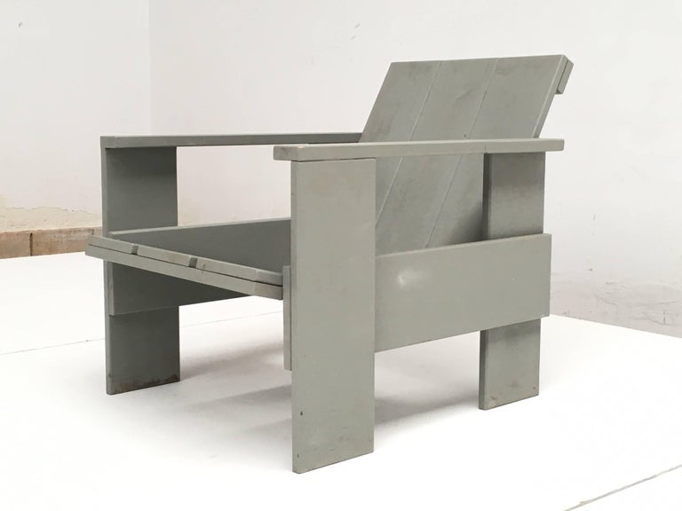 Dutch Gerrit Rietveld Inspired Crate Chair, Study Piece by a Student For Sale