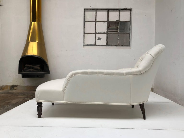 French Méridienne / Chaise Longue circa 1850 Re-Upholstered in De Ploeg Wool For Sale 5