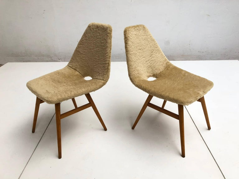 Mid-Century Modern Pair of Side Chairs by Judit Burian & Erika Szek Hungary, circa 1959 For Sale