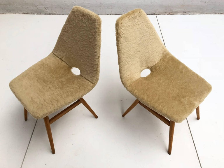 Pair of side chairs by Judit Burian & Erika Szek made in Hungary, circa 1959