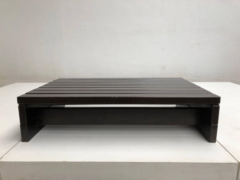 1960s Solid Wengewood Midcentury Coffee Table or Bench the Netherlands For Sale 1